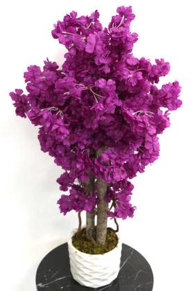 Yapay Küçük Bahar Dalı Ağacı 75 cm Mor - Thumbnail