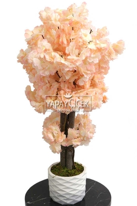 Yapay Çiçek Deposu - Yapay Küçük Bahar Dalı Ağacı 75 cm Somon