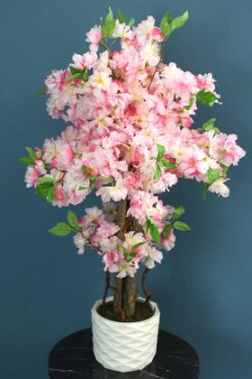 Yapay Çiçek Deposu - Yapay Küçük Bahar Dalı Ağacı 80 cm Pembe