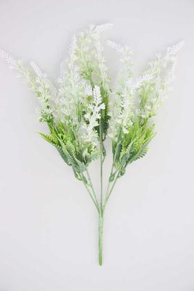 Yapay Çiçek Deposu - Yapay Gerçek Dokulu Silikonlu lavanta Demeti 36 cm Beyaz