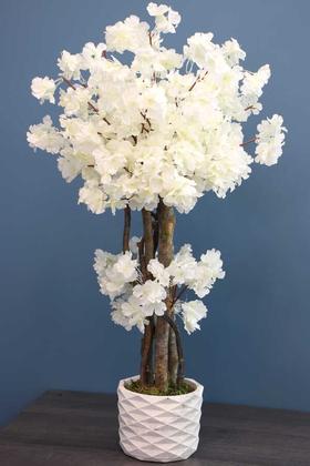Yapay Çiçek Deposu - Yapay Küçük Japon Bahar Dalı Ağacı 75 cm Beyaz