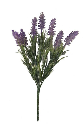 Yapay Çiçek Deposu - Yapay Lavanta Demeti Mor(İri Başlı, Pudralı)
