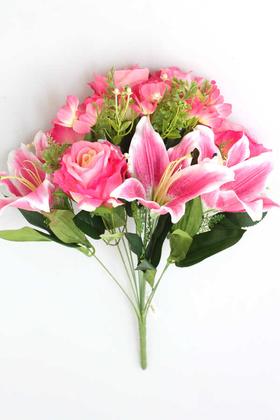 Yapay Çiçek Deposu - Yapay Çiçek Dev Lilyum Gül Demeti Koyu Pembe
