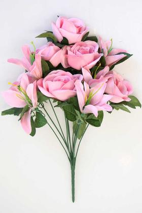 Yapay Çiçek Deposu - Yapay Çiçek 11 Dallı Lilyum Gül Buketi Pembe