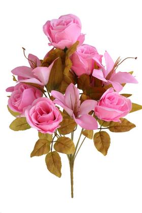 Yapay Çiçek Deposu - Yapay Çiçek Lüx Lilyum Gül Buketi Açık Pembe