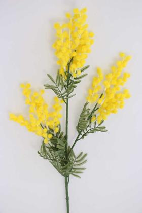 Yapay Çiçek Deposu - Yapay Lüx 3lü Mimoza Dalı 85 cm Sarı