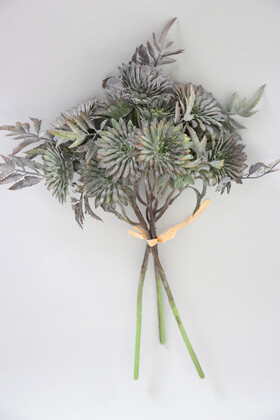 Yapay Çiçek Deposu - Yapay Lüx 3lü Pastel Bitki Dalı 32 cm Gri
