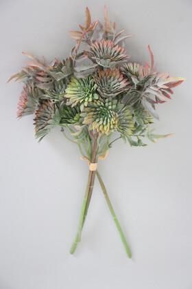 Yapay Çiçek Deposu - Yapay Lüx 3lü Pastel Bitki Dalı 32 cm Yeşil-Pembe