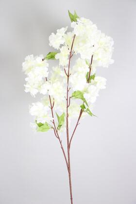 Yapay Çiçek Deposu - Yapay Lüx Kabarık Bahar Dalı Beyaz