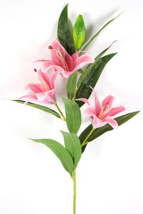 Yapay Çiçek Deposu - Yapay Çiçek Islak Lilyum Zambak Dal 95 cm Koyu Pembe