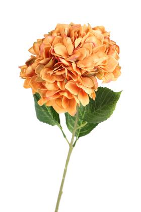 Yapay Çiçek Deposu - Yapay Lüx Ortanca Dalı 90 cm Somon-Kahve