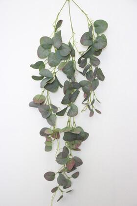 Yapay Çiçek Deposu - Yapay Lüx Sarkan Okaliptus Bitkisi 80 cm Yeşil-Mor