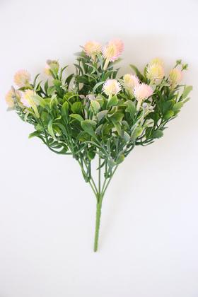 Yapay Çiçek Deposu - Yapay Lüx Top Yeşillik Demeti 30 cm Açık Pembe