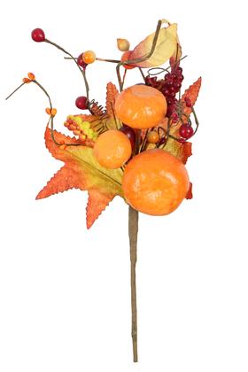 Yapay Çiçek Deposu - Yapay Meyve Dalı 35 cm Portakal