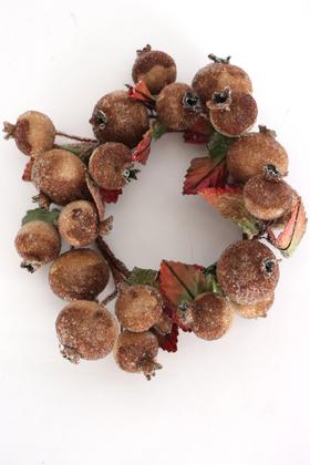 Yapay Çiçek Deposu - Dekoratif Meyveli Duvar Süsü - Mum Altlığı Çap 16cm Kahverengi