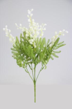 Yapay Çiçek Deposu - Yapay Mimoza Çiçeği Demeti 33 cm Beyaz