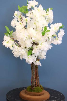 Yapay Minik Bahar Dalı Ağacı 55 cm Beyaz - Thumbnail