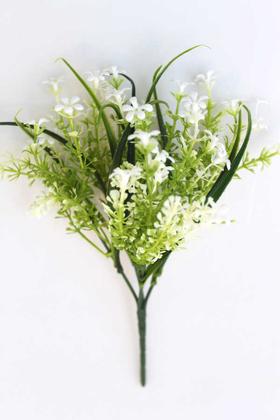 Yapay Çiçek Deposu - Yapay Mini Kıtır Yeşillik Cipso Beyaz