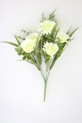 Yapay Çiçek Deposu - Yapay Okaliptuslu Yeşillik Kasımpatı Demeti 30 cm Krem
