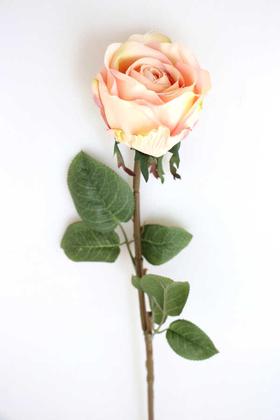 Yapay Çiçek Deposu - Yapay Orjinal Açmış Gül Dalı 62 cm Pudra