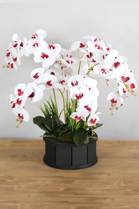 Yapay Çiçek Deposu - Dekoratif Ahşap Saksıda 7 Dal Orkide Tanzimi Beyaz Bordo