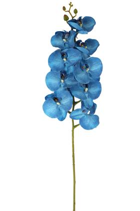Yapay Çiçek Deposu - Yapay Islak Dokulu Premium Orkide Çiçeği 97 cm Deniz Mavisi