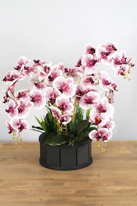 Yapay Çiçek Deposu - Dekoratif Ahşap Saksıda 7 Dal Orkide Tanzimi Mürdüm Benekli