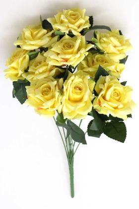 Yapay Çiçek Deposu - 10 Dal Kaliteli Büyük Ekvator Gül Demeti 42 cm Sarı
