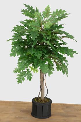 Yapay Çiçek Deposu - Ahşap Oval Saksıda Yapay Papaya Ağacı 100 cm