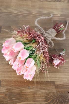 Yapay Çiçek Deposu - Maine Gelin Buketi Islak Lale Cipso 2li Set