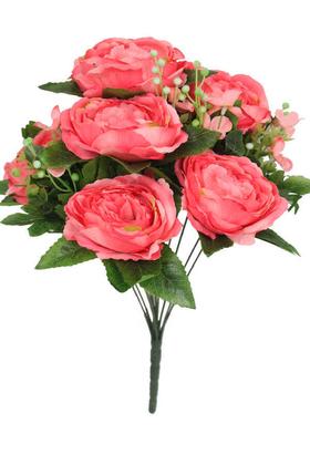 Yapay Çiçek Deposu - Yapay Çiçek 11 Dallı Lüx Şakayık Gül Aranjmanı Pembe