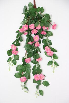 Yapay Çiçek Deposu - Yapay Güllü Sarkan Sarmaşık 80 cm Pembe