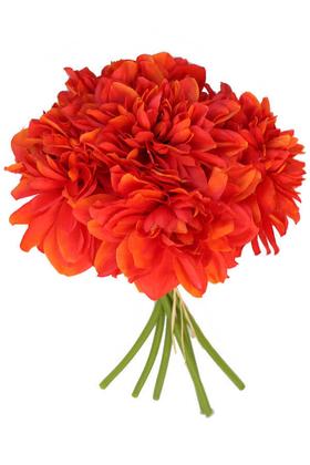 Yapay Çiçek Deposu - Yapay Krizantem Dahlia Yıldız Çiçeği 25cm Alev Kırmızı