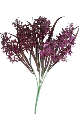Yapay Çiçek Deposu - Yapay Yeşillikli Pastel Garnitür Demeti Mürdüm