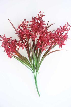 Yapay Çiçek Deposu - Yapay Yeşillikli Pastel Garnitür Demeti Kırmızı