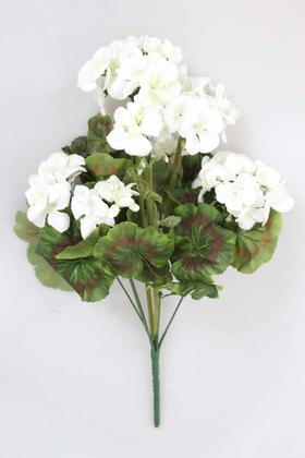 Yapay Çiçek Deposu - Yapay Çiçek Büyük Sardunya Demet Beyaz