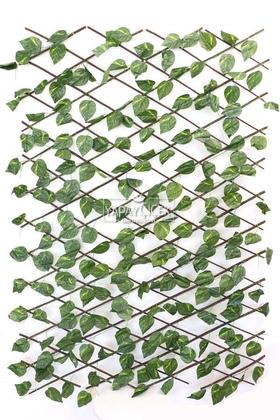 Yapay Çiçek Deposu - Yapay Sarmaşık Açılır Kapanır Ahşap Çit Büyük Sivri Model 60x240 cm