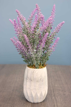 Yapay Çiçek Deposu - Beton Vazoda Yapay Pudralı Lavanta Fuşya 35 cm
