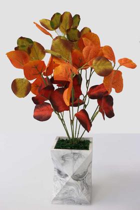 Yapay Çiçek Deposu - Uzun Model Beton Saksıda Silver Okaliptus Bitkisi 48 cm