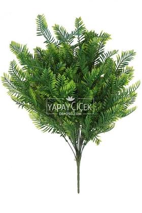 Yapay Çiçek Deposu - 18 Dallı Dev Lüx Kuşkonmaz Demeti 52 cm Yeşil-Sarı