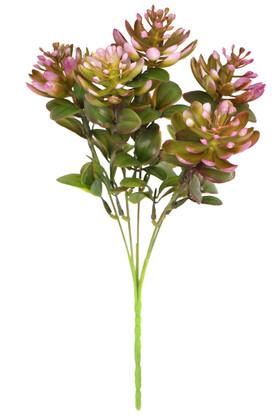 Yapay Çiçek Deposu - Yapay Sukulentli Yeşillik Demeti 30 cm Erguvan