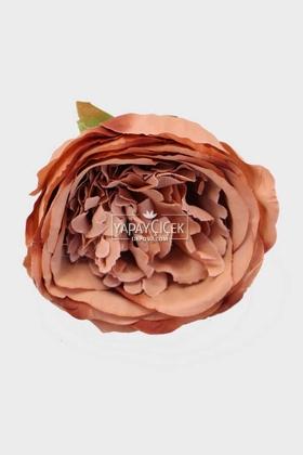Yapay Çiçek Deposu - Yapay Tek Kafa Şakayık Gül 10 cm Kahve