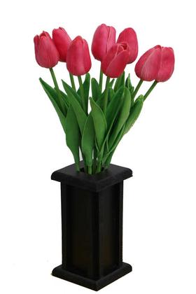 Yapay Çiçek Deposu - Ahşap Vazoda 8li Islak Lale Demeti Canlı Pembe 32 cm