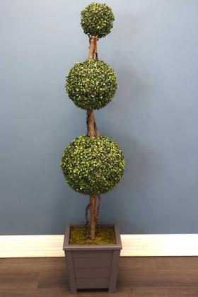 Yapay Çiçek Deposu - Yapay Top Şimşir Ağacı 3 Katlı 160 cm Gri Büyük Saksılı