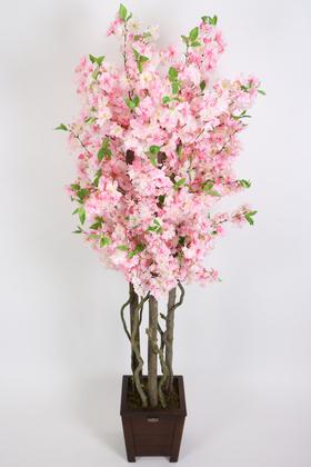 Yapay Çiçek Deposu - Yapay Pembe Bahar Dalı Ağacı 3 Gövdeli 175 cm
