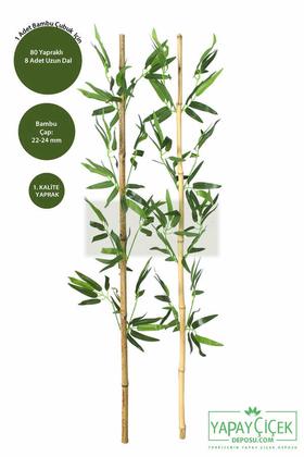 Yapay Çiçek Deposu - 115 cm Yapay 8 Dal Yapraklı Gerçek Bambu