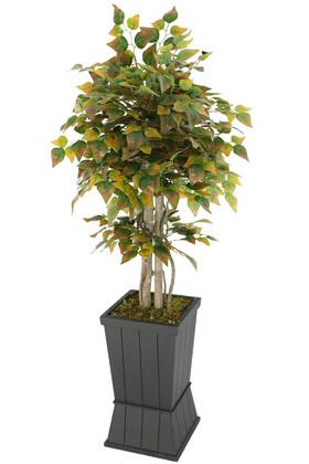 Yapay Çiçek Deposu - Yapay Çınar Ağacı 150 cm Yeşil-Kızıl