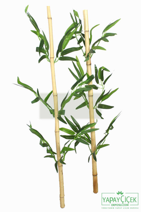 80 cm Yapay 6 Dal Yapraklı Gerçek Bambu - Thumbnail