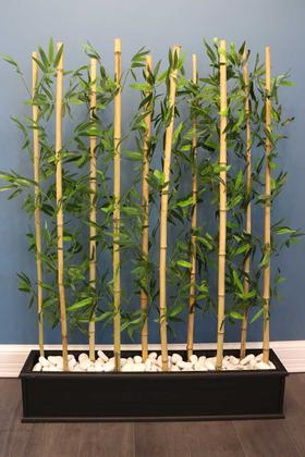 Yapay Çiçek Deposu - 10 Çubuklu Ahşap Saksıda Bambu Seperatör (20x100x135cm)