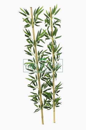 Yapay Çiçek Deposu - 150 cm Yapay 12 Dal Yapraklı Gerçek Bambu Gövde Yapay Yapraklı